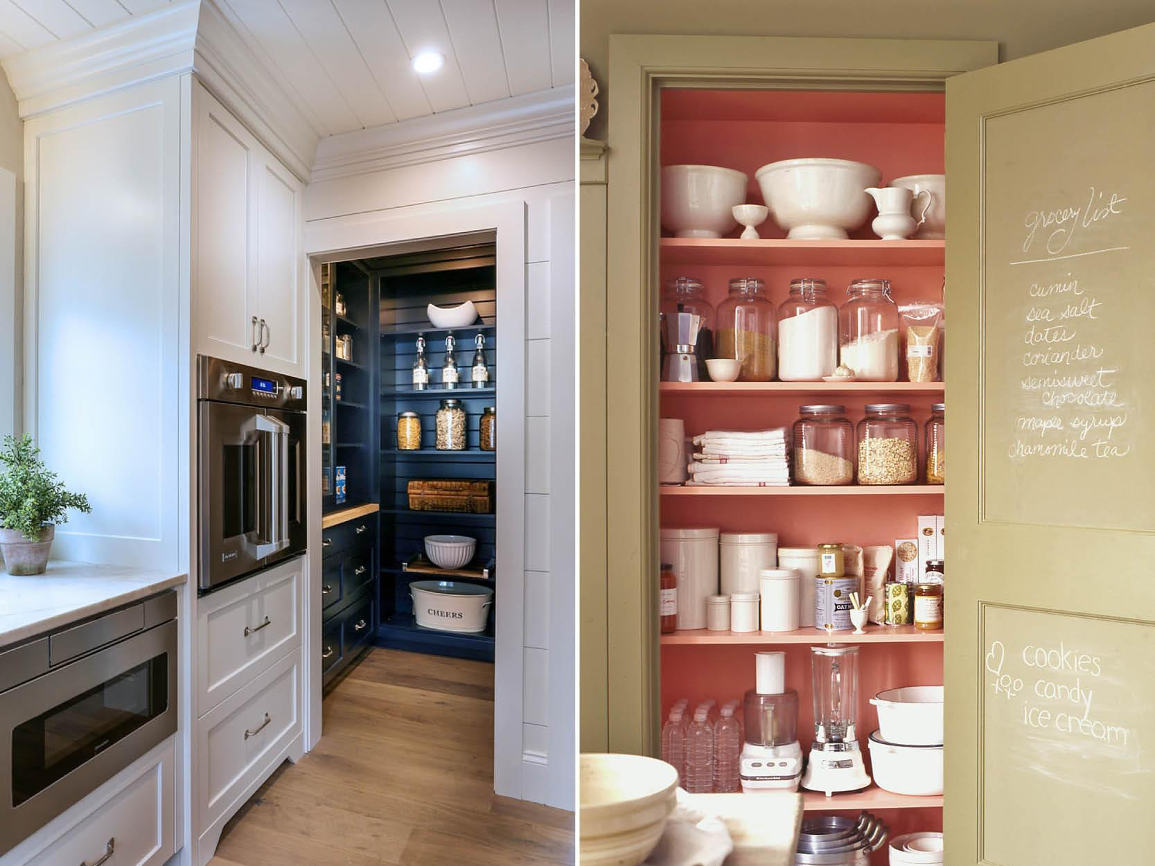 Walk-in pantry cupboards, if you have the space, are a genius way to add so much extra space in and why not make it pop by using contrasting colours that really adds the wow factor. Take a look at these two ideas from Martha Stewart & Home Bunch.