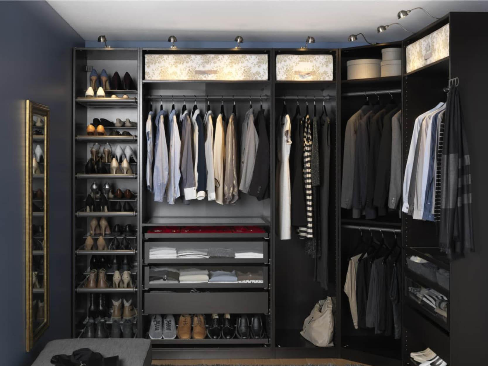 Walk in wardrobes are definitely a way to add some interest, let the clothes speak for themselves by giving them a dark base to pop off of like this classic IKEA option.