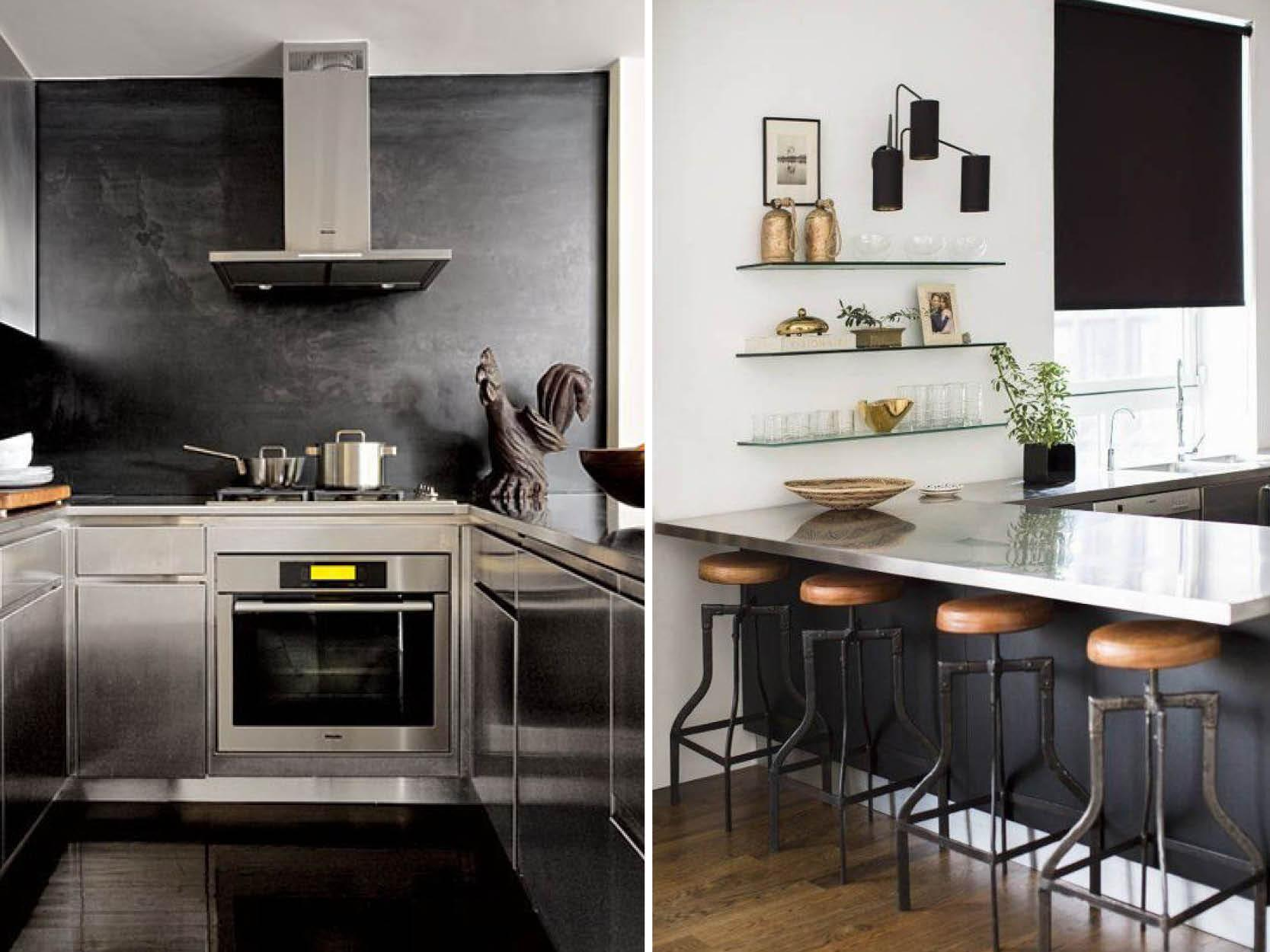 Stainless Steel Worktops via Pinterest